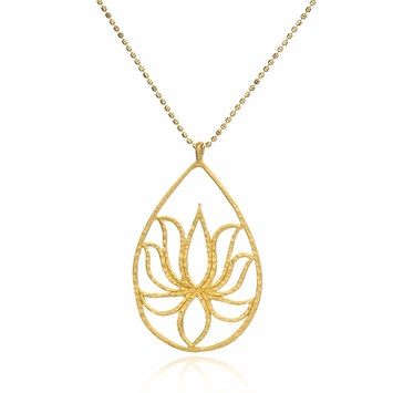 Satya Gold Teardrop Lotus Necklace