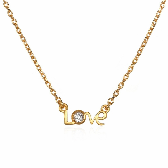 Satya Jewelry Gold Script Love Necklace