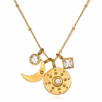 Satya Jewelry Sun and Moon White Topaz Necklace