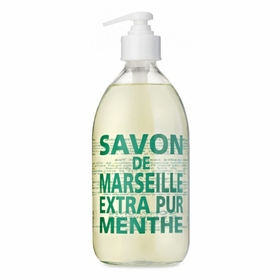 Savon de Marseille Extra Pur Liquid Soap (16.9 oz Glass Bottle) in Mint Tea