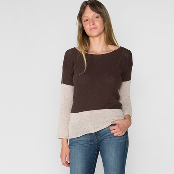 Six Ten Boardwalk Two-Tone Sweater in Coffee/ Linen