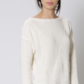 Eco Six Ten Cotton Boatneck Sweater in Winter White