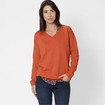 Eco Six Ten Cotton V-Neck Sweater in Spice