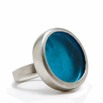 Eco Smart Glass Cocktail Ring in Aqua