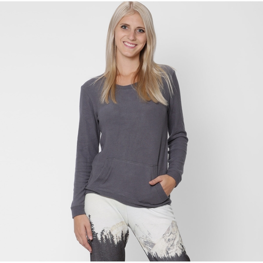 Solow Faux Cashmere Pocket Pullover ( Graphite )