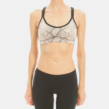 Solow Multi Strap Sports Bra in Blush Snake Print