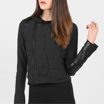 Solow Quilted Moto Jacket in Steel/Black