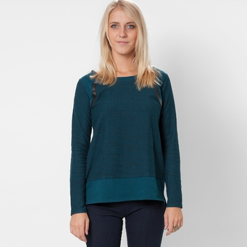 Solow Quilted Moto Sweatshirt in Cerulean/Black