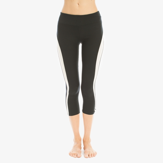 Solow Racer Stripe Capri Legging ( Black )