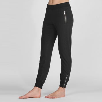 Solow Zippered Jogger in Black
