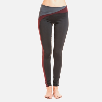Solow Wavebreak Legging in Black/Wine/Carbon