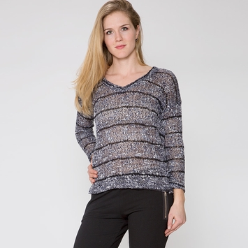 Splendid Stripe Loose Knit Long Sleeve Top in Navy