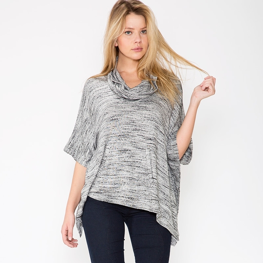 Splendid Cowl Neck Poncho ( Heather Grey )