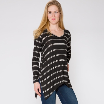 SALE / Splendid Double Stripe Top in Black/White