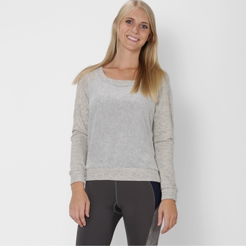 Splendid Classic Velour Sweatshirt in Heather Grey