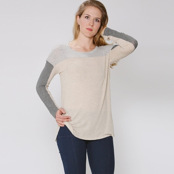 Splendid Color Block Drapey Lux Shirt in Oatmeal/Steel/Grey