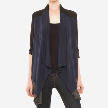 Splendid Color Block Drapey Lux Wrap in Navy/Charcoal/Black