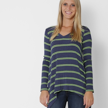 Splendid Double Stripe Top in Navy/Tennis