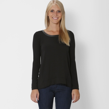 Splendid Long Sleeve Back Zip Top in Black