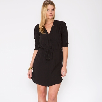 Splendid Rayon Shirt Dress in Black