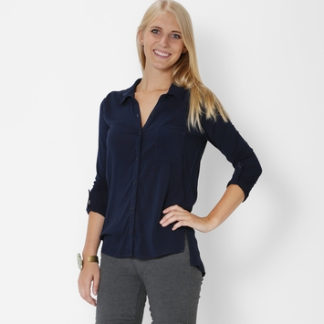 Splendid Rayon Voile Shirt in Navy