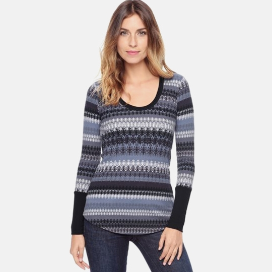 Splendid Snowbird Fair Isle Top ( Slate/Blanc )