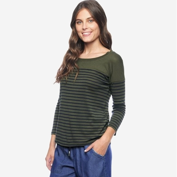Splendid Venice Stripe Long Sleeve Shirt in Olivine