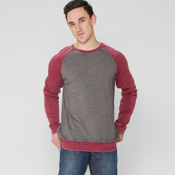 Organic Threads 4 Thought Burnout Raglan Crew in Heather/Red
