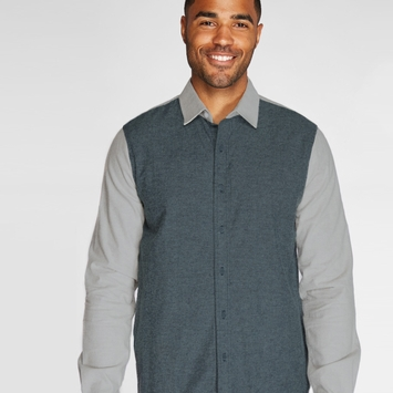 Organic Threads 4 Thought Lightweight Brushed L/S Shirt in Blue Nights/Smoke Grey