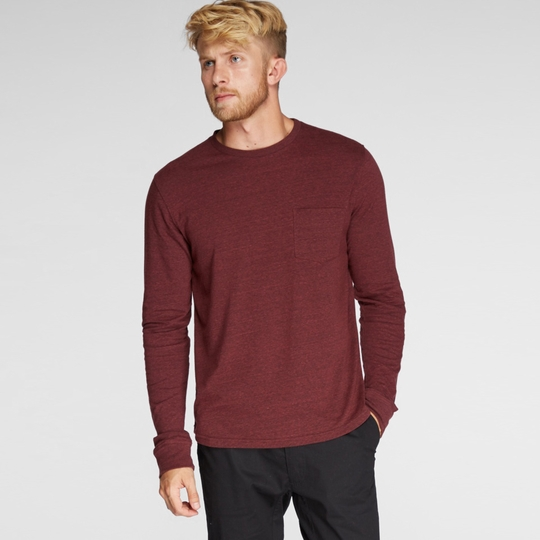 Threads 4 Thought Long Sleeve Crew Neck Pocket Tee ( Biking Red )