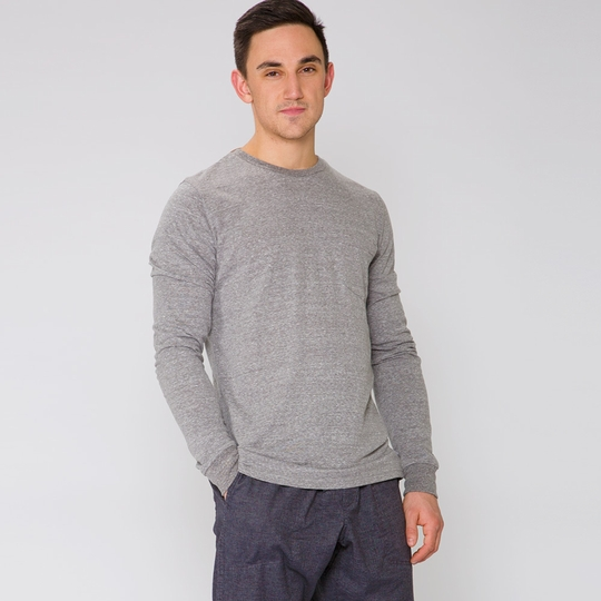 Threads 4 Thought Long Sleeve Crew Neck Pocket Tee ( Heather Grey )