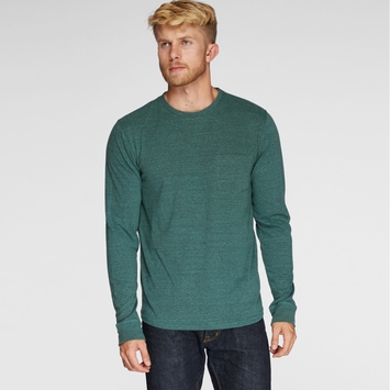 Organic Threads 4 Thought Long Sleeve Crew Neck Pocket Tee in Evergreen