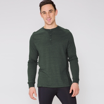 Organic Threads 4 Thought Long Sleeve Henley Thermal Shirt in Evergreen