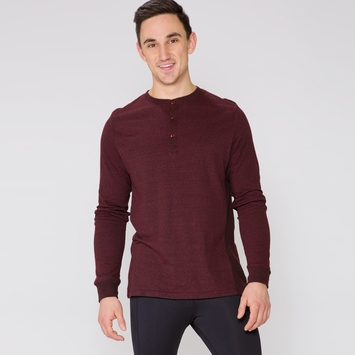 Organic Threads 4 Thought LS Henley Thermal Shirt in Biking Red