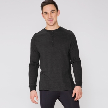 Organic Threads 4 Thought Long Sleeve Henley Thermal Shirt in Heather Black