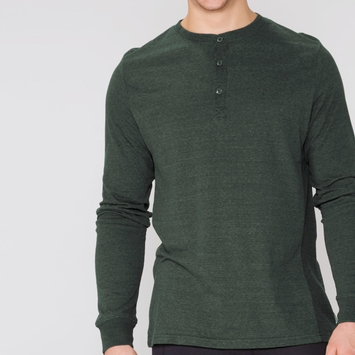 Organic Threads 4 Thought LS Henley Thermal Shirt in Evergreen