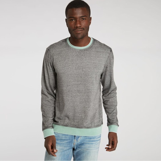Threads 4 Thought Ringer L/S Crewneck ( Heather Grey/Malachite Green )
