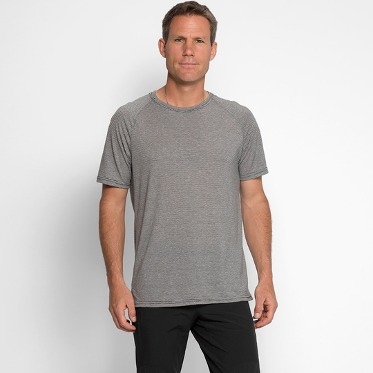 Threads 4 Thought Short Sleeve Mini Stripe Crew ( Scour Grey )