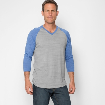 Organic Threads 4 Thought V-Neck 3/4 Sleeve Raglan in Grey/Curacao Blue