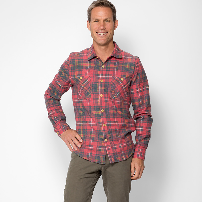 Threads 4 thought slim fit flannel shirt mens apparel at for Mens slim fit flannel shirt
