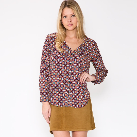 Three Eighty Two Dylan Button Front Tunic ( Multi Tiegs Print )