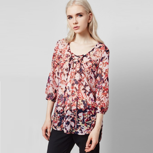 Three Eighty Two Harlan Lace-up Top ( Helene Print )