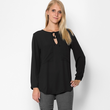 Three Eighty Two Kiera Peasant Tunic in Black