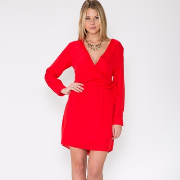 Three Eighty Two Lana Surplice Dress in Scarlet