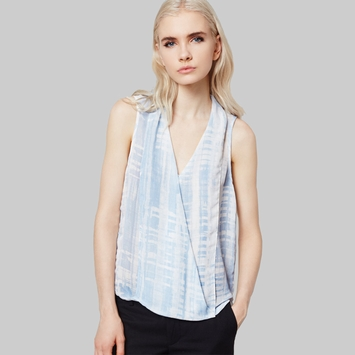 Three Eighty Two Monroe Surplice Top in Rivea Print