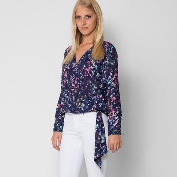 Three Eighty Two Stella Long Sleeve Surplice Top in Prague Print