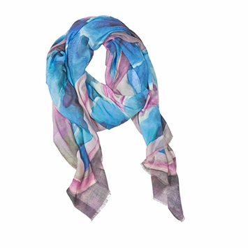 Tilo Printed Scarf in Blue Flower