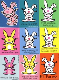 12 Pack Of Assorted Happy Bunny Stickers