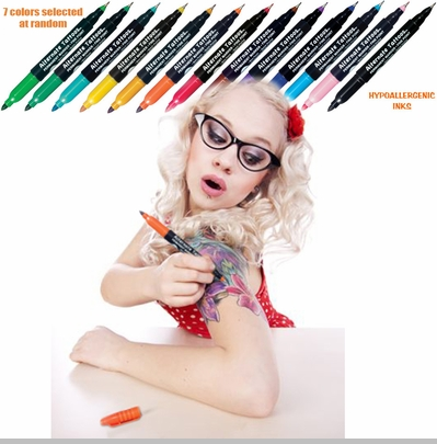 Temporary Tattoo - 18-Piece Temporary Tattoo Pen Kit <!-- Click to Enlarge-->