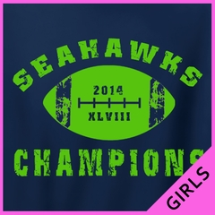 "2014 Seahawks ""The Big Game"" Champions Girls T-shirt"